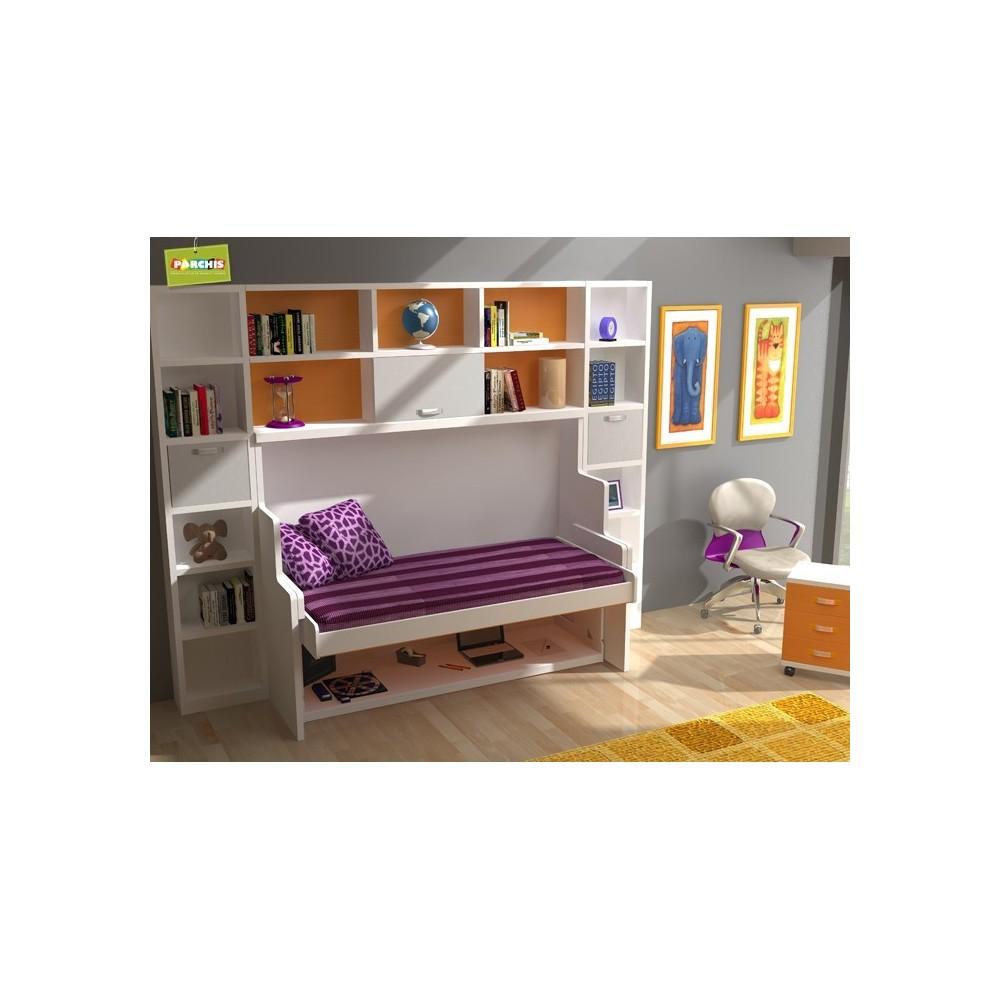 Camas tipo tren literas fijas muebles juveniles con for Habitaciones juveniles con cama grande