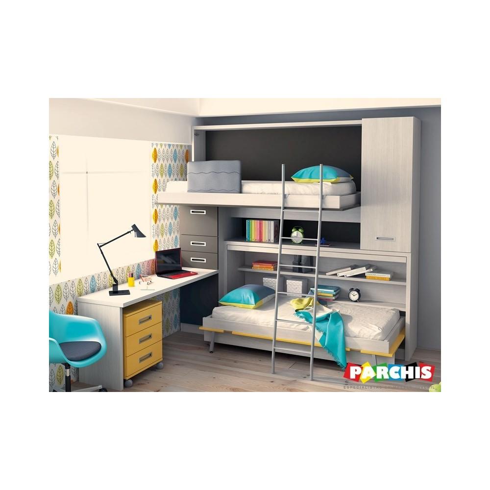 Habitaciones juveniles con encanto lacadas en blanco for Habitaciones juveniles 3 camas