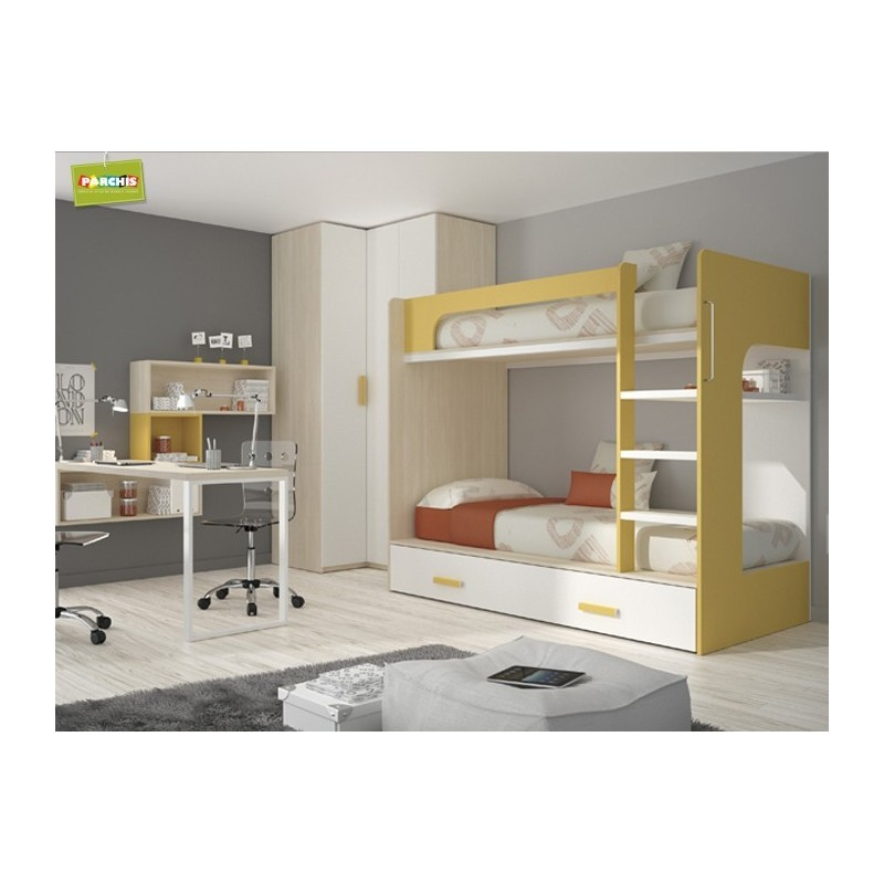 Iedasdormitoriosjuvenilesconcamasgrandes for Dormitorio juvenil tres camas