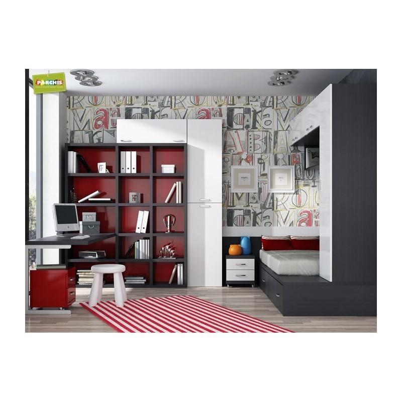 Muebles juveniles con tres camas literas triples venta en for Dormitorios tres camas