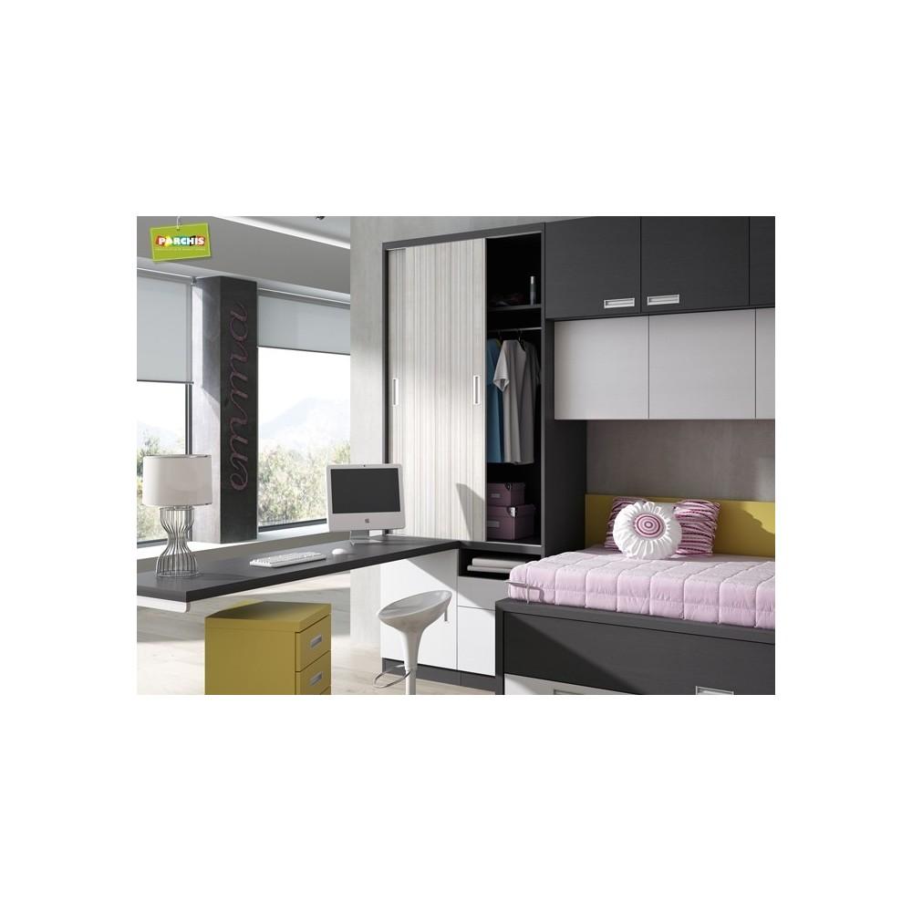 Mobiliario juvenil con literas abatibles dobles muebles for Conjunto dormitorio juvenil