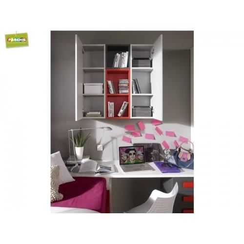 Muebles infantiles con camas tren cama alta con armarios for Camas juveniles con cajones abajo