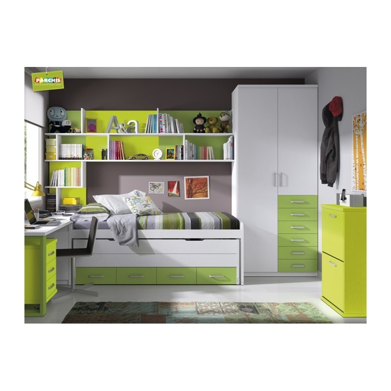 Muebles juveniles con camas tren cruzadas camas compactas for Mobiliario dormitorio juvenil