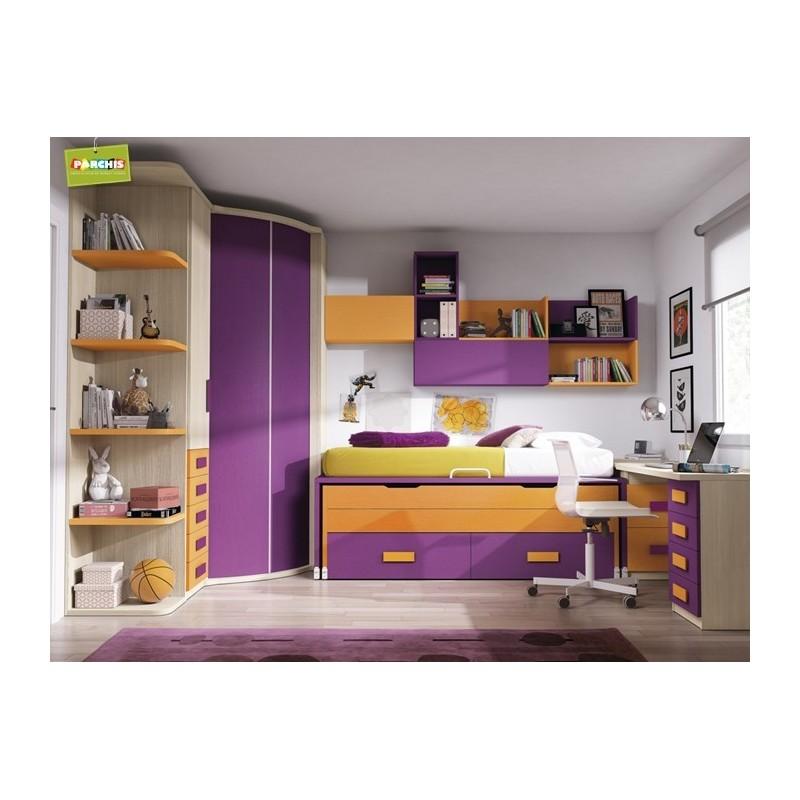 Muebles infantiles con tres camas mueble litera tipo tren - Muebles literas infantiles ...