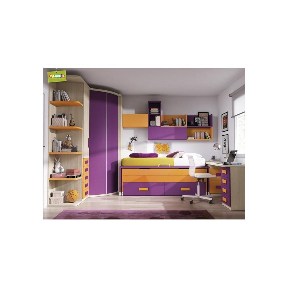 Muebles infantiles con tres camas mueble litera tipo tren - Camas tren infantiles ...