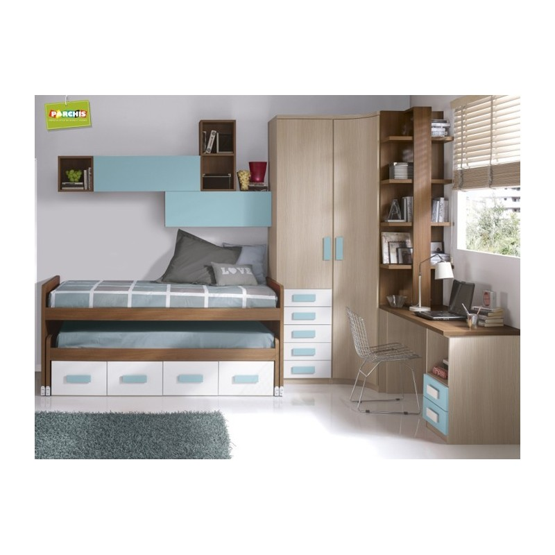 Ideas para amueblar con camas nido infantiles un for Cama nido infantil con cajones