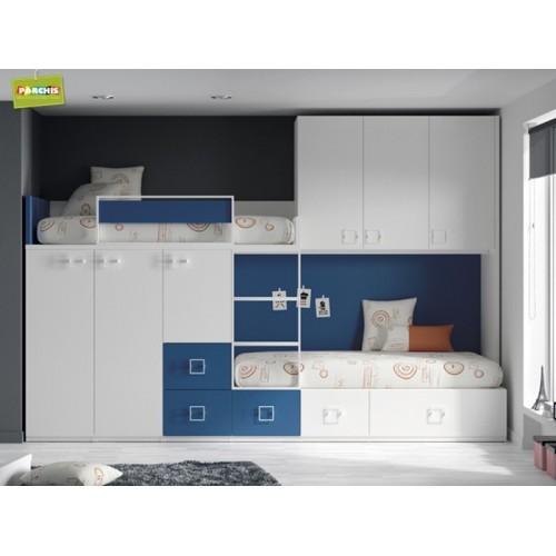 Dormitorios juveniles con literas verticales mueble for Mueble litera abatible vertical