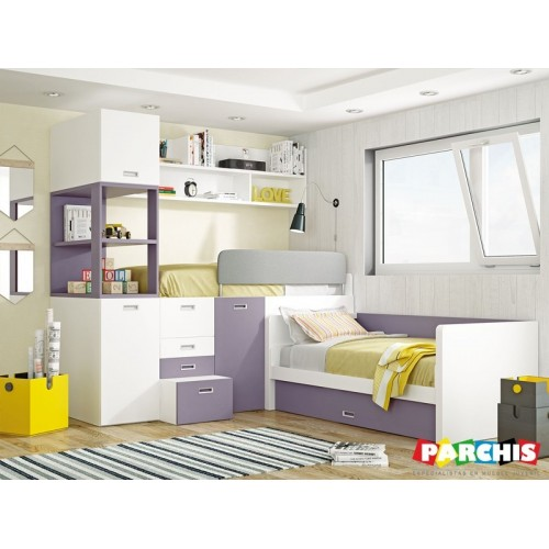 Cama de matrimonio abatible en horizontal muebles cama pared for Muebles abatibles juveniles