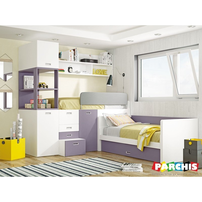Cama de matrimonio abatible en horizontal muebles cama pared - Mueble salon con cama abatible ...