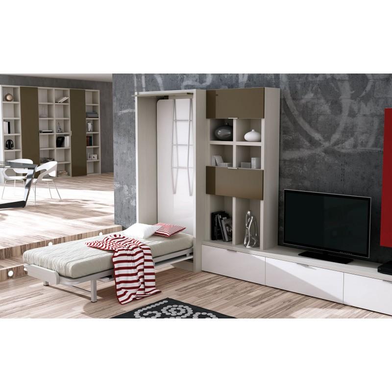 Muebles abatibles con camas altas habitaciones juveniles for Mueble juvenil cama abatible
