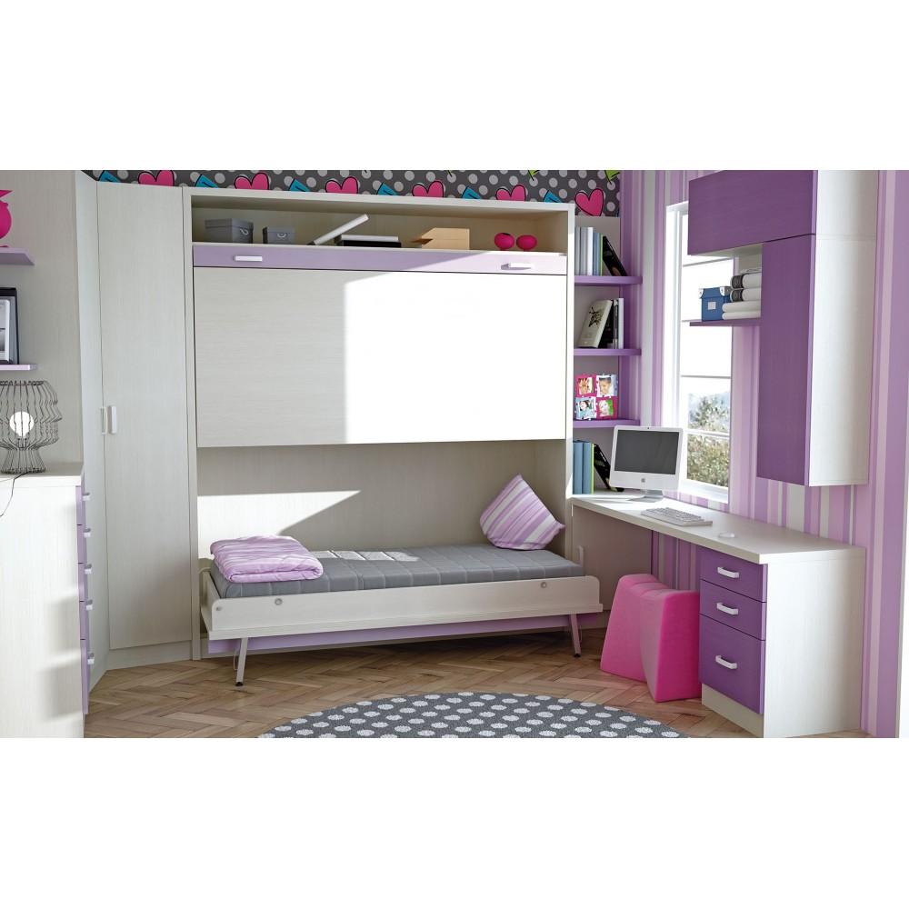 Muebles juveniles con camas abatibles literas triples for Dormitorios juveniles con cama grande