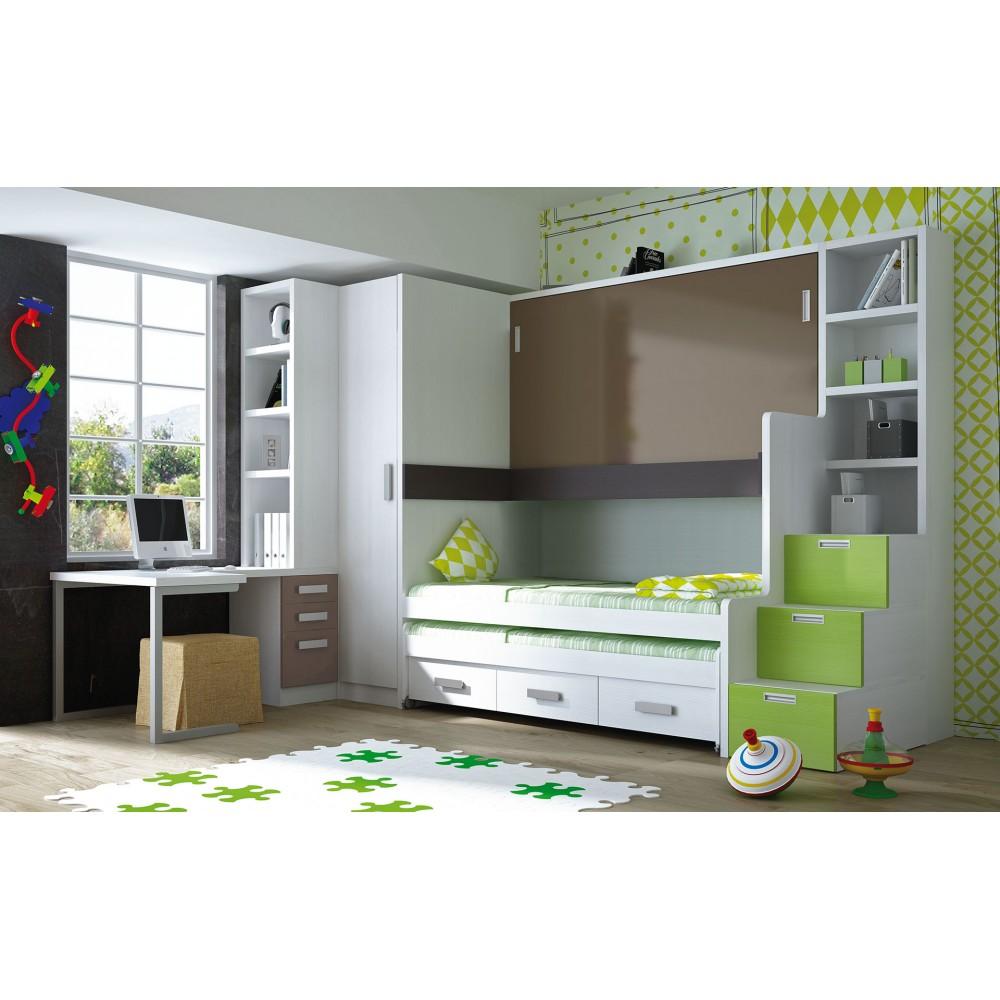 Muebles juveniles en color verde camas compactas para chicos for Compactos juveniles