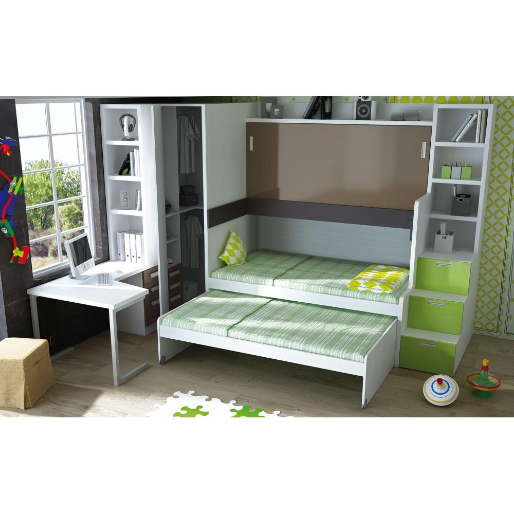Muebles juveniles en color verde camas compactas para chicos for Camas para chicos