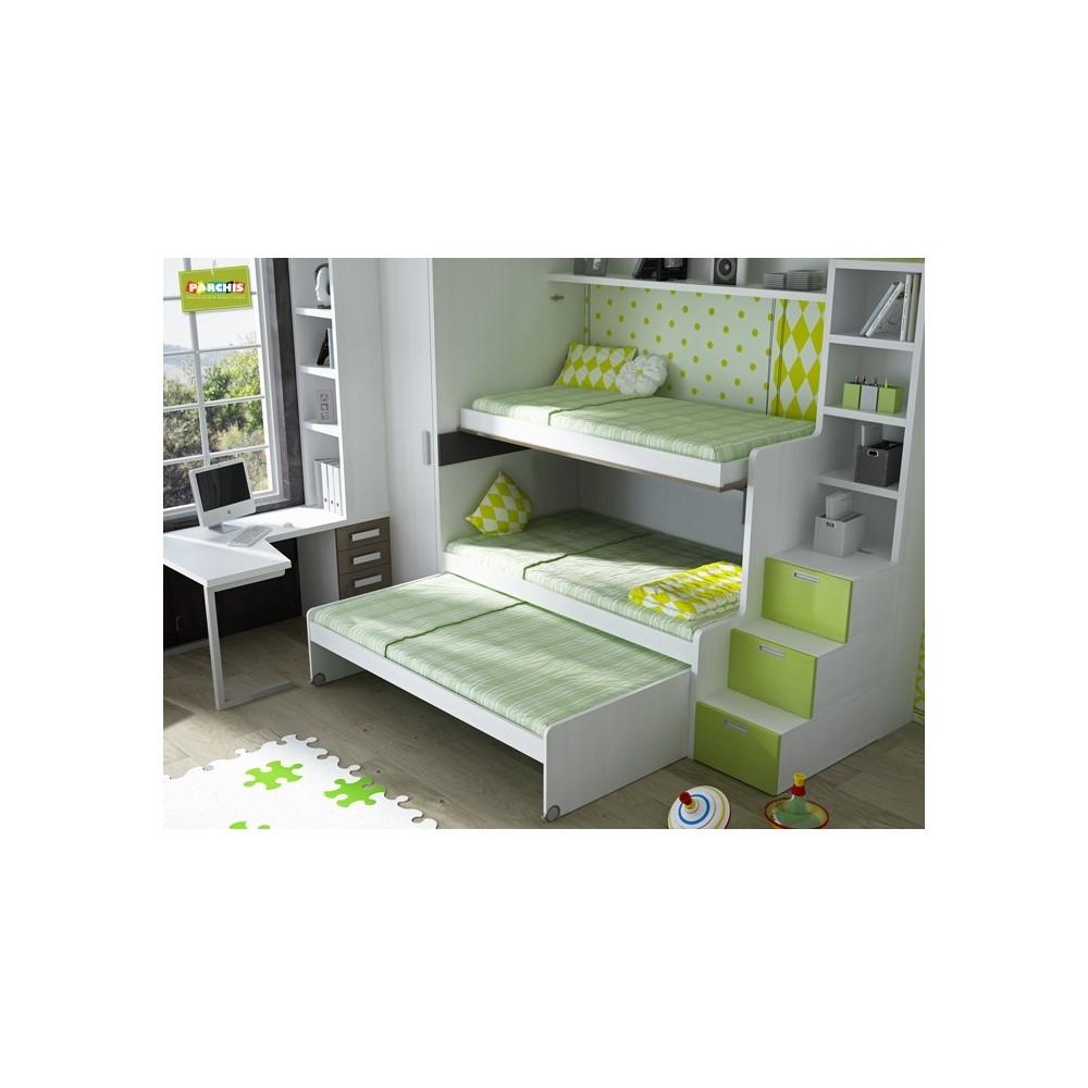 Dormitorios con camas triples para pladur for Camas triples juveniles
