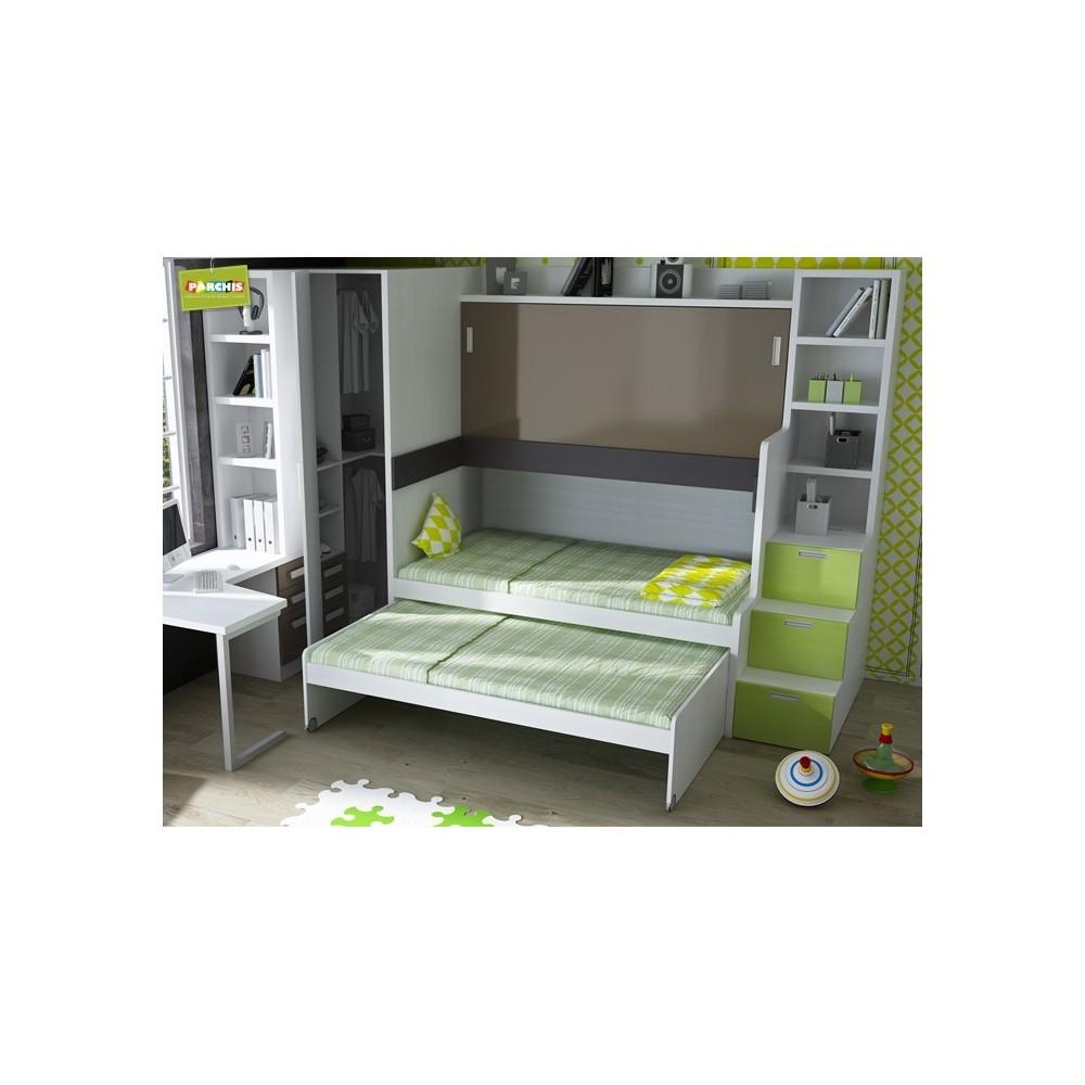 Dormitorios con camas triples para pladur for Camas nido triples precios