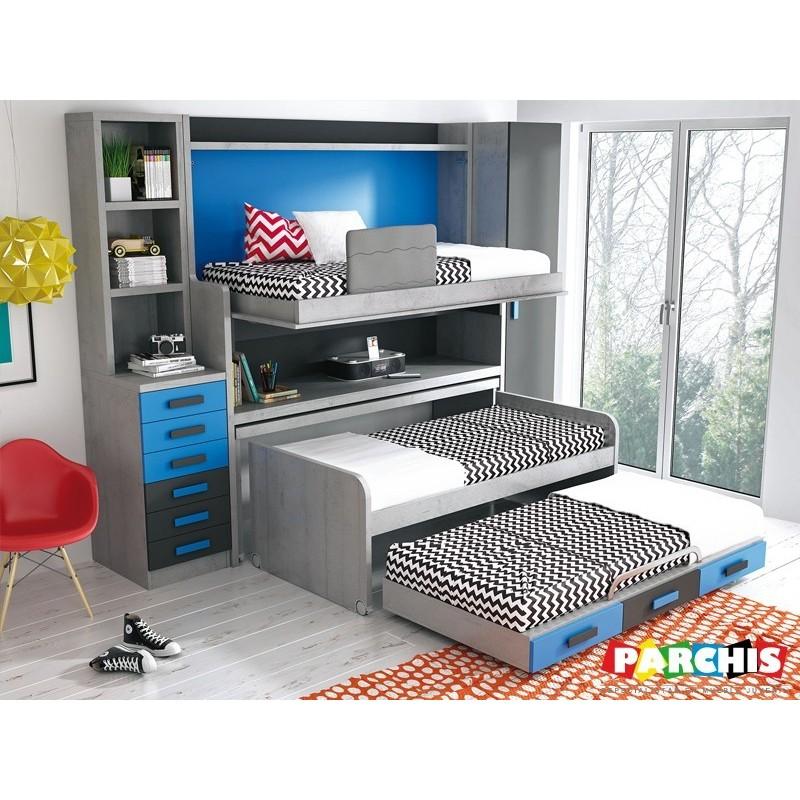 Dormitorios con camas triples cajones for Dormitorios juveniles con cama grande