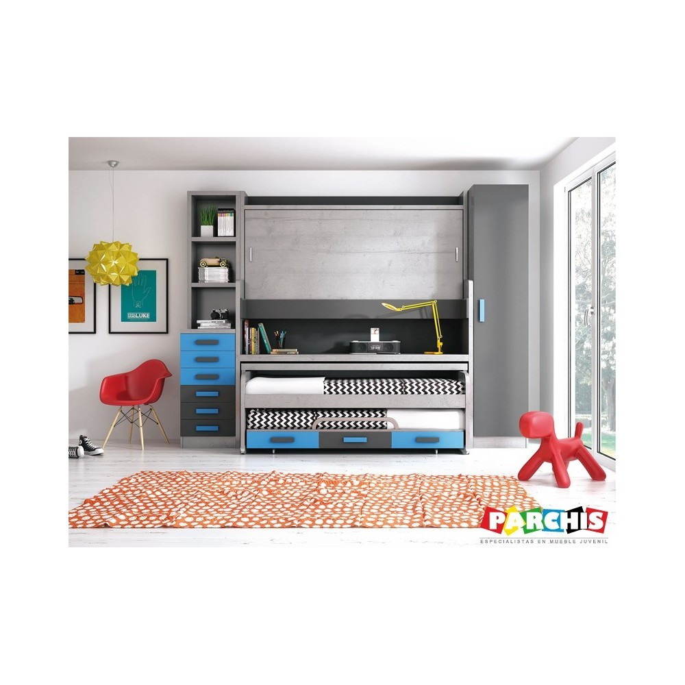 Dormitorios con camas triples cajones for Dormitorios juveniles para ninas