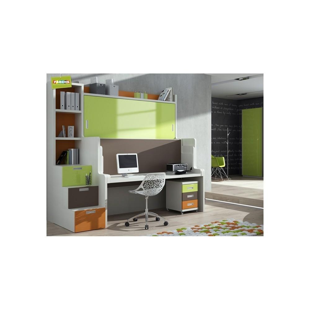 Mobiliario juvenil con literas abatibles dobles muebles for Mobiliario de dormitorio