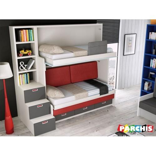 28- Literas con dos camas y un sofá por delante, ver exposición en Madrid