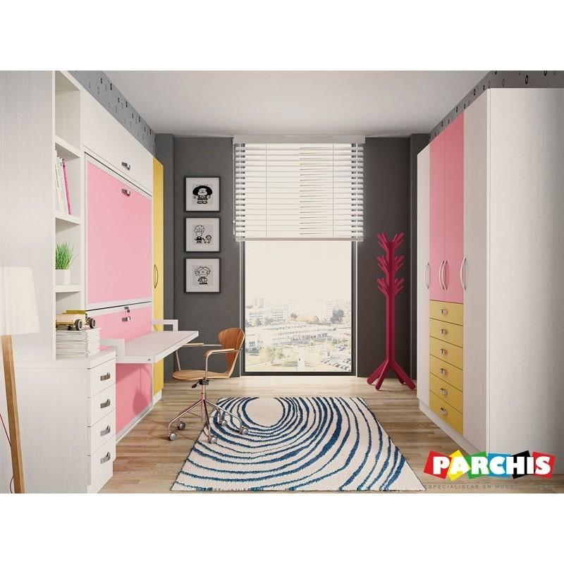 Literas met licas plegables horizontales muebles for Dormitorios juveniles abatibles