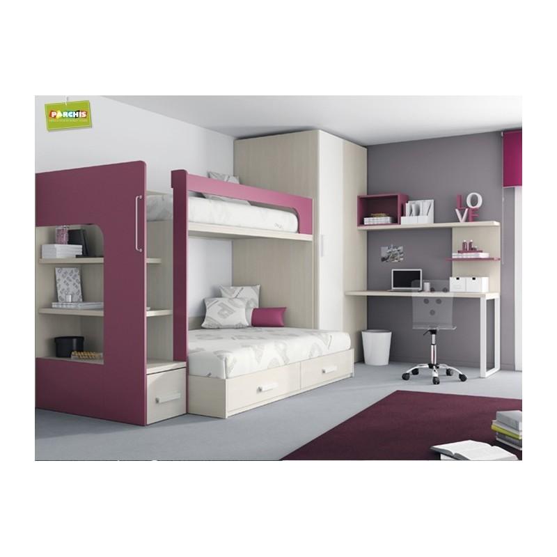Dise o de mueblesjuveniles amueblar con literas fijas de - Habitaciones juveniles con cama abatible ...