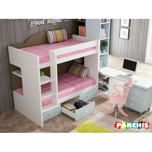 16-Muebles literas fijas juveniles para espacios reducidos