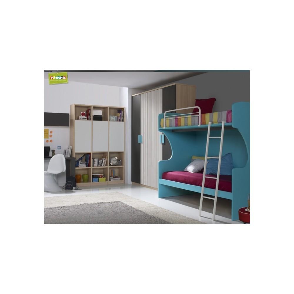 Habitacionesjuvenilesconliteras muebles literas fijas literascondoscamas for Habitaciones juveniles 3 camas