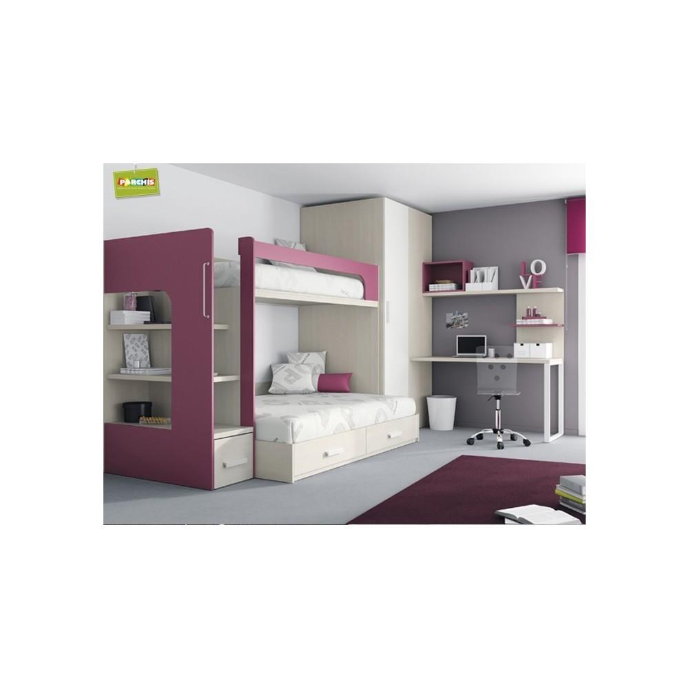 Dise o de mueblesjuveniles amueblar con literas fijas de - Dormitorios modulares juveniles ...