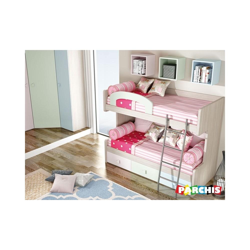 Literas fijas de madera para chicos y chicas for Dormitorios juveniles con cama grande