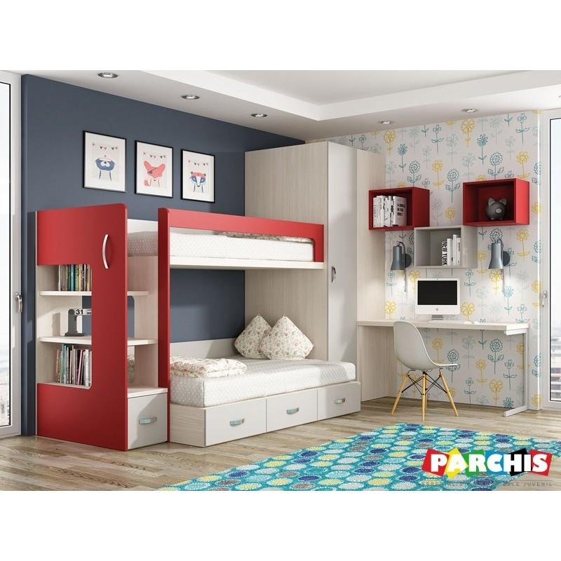 Muebles juveniles literas con camas de 135x190 - Dormitorios juveniles madera ...