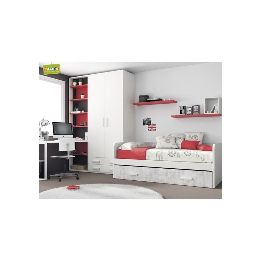 Cama nido 105 x 190 top habitacin infantil con cama nido for Dormitorios juveniles cama nido doble