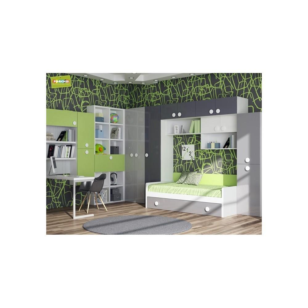 Dormitorio cama nido verde camas nido baratas for Dormitorio cama nido