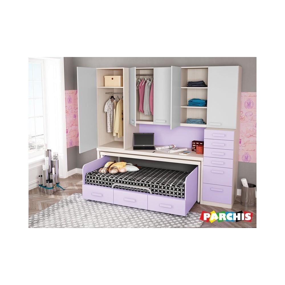 Muebles infantiles con camas nido camas infantiles con ruedas for Camas compactas juveniles