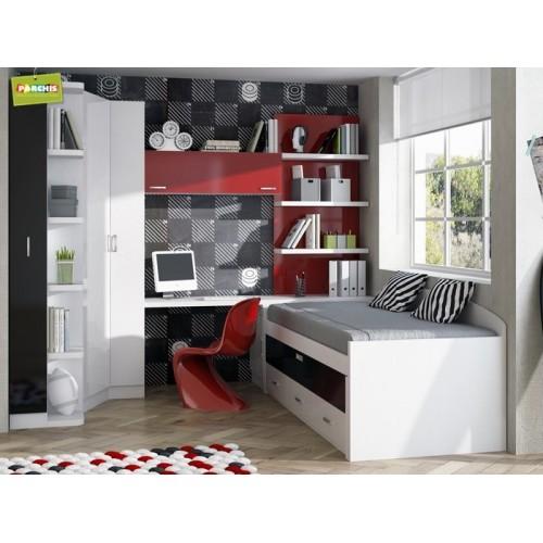 Dormitorios con camas compactas dormitorios individuales for Muebles modulares juveniles