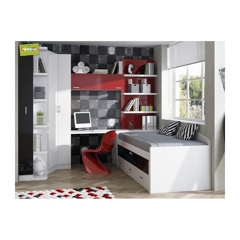 Muebles juveniles con camas compactas camas dobles para for Muebles modulares juveniles