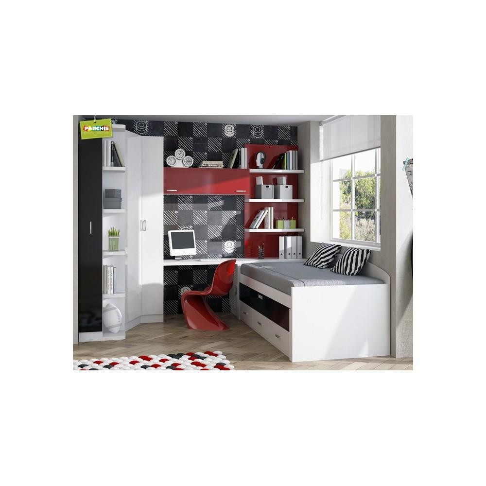 Muebles juveniles con camas compactas camas dobles para chicos - Muebles modulares dormitorio ...