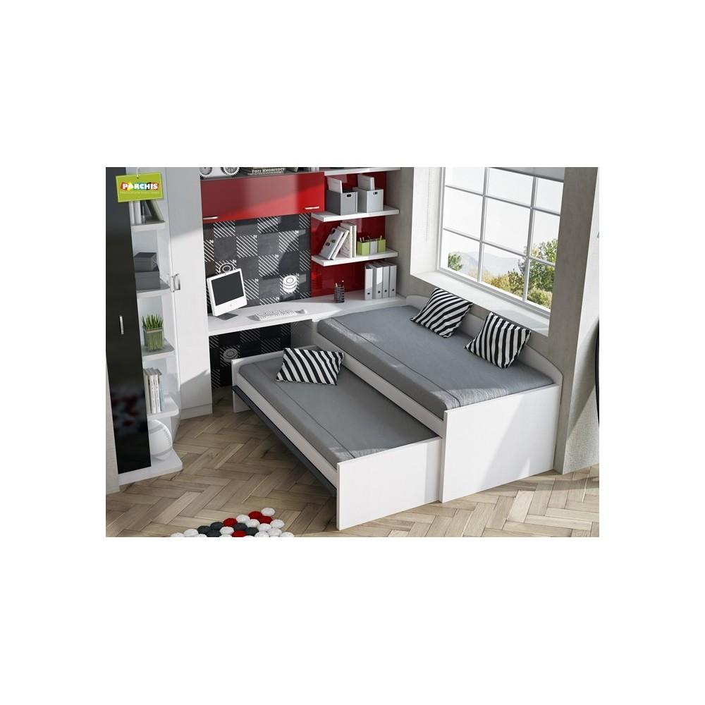 Muebles juveniles con camas compactas camas dobles para chicos - Dormitorios juveniles en madrid ...