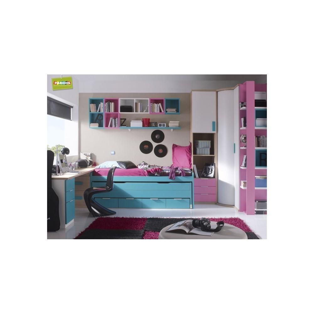 Dormitorio juvenil para chicas muebles en toledo camas - Camas juveniles compactas ...