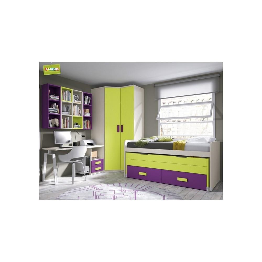 Muebles juveniles con compactos dobles camas juveniles para chicos - Dormitorios juveniles dobles ...