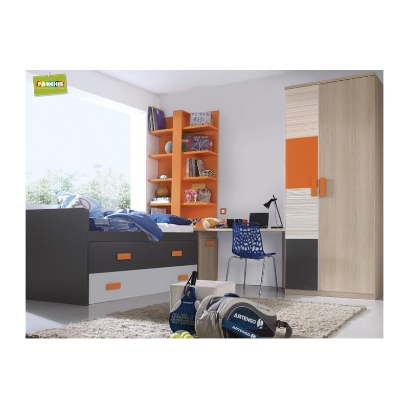 Muebles compactos con cama doble muebles para chicos adolescentes - Muebles para chicos ...