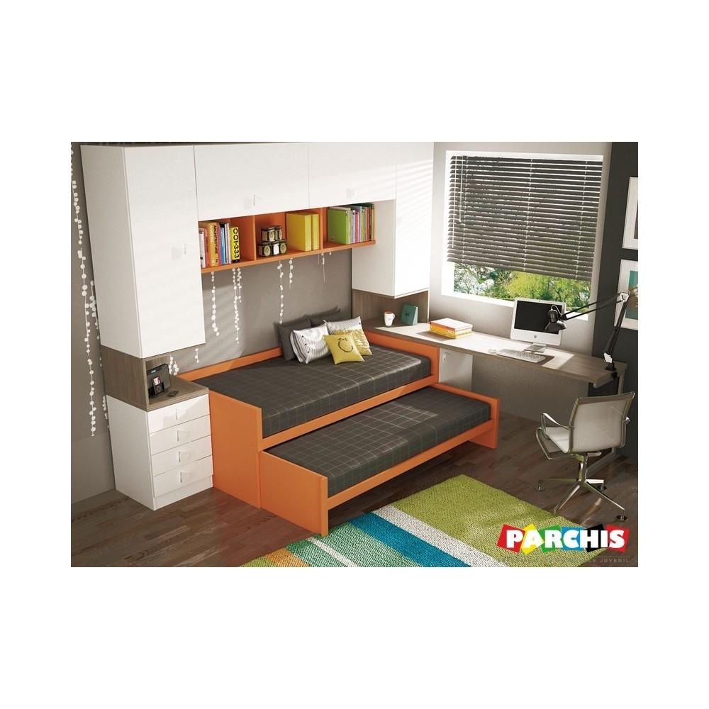 Muebles juveniles con camas compactas dobles para chicos for Habitaciones compactas