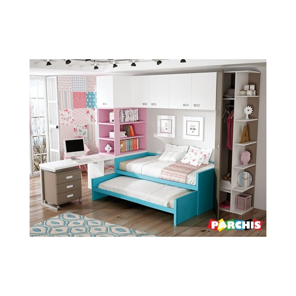 Muebles Juveniles Con Camas Compactas Dobles Para Chicos Jovenes # Muebles Compactos