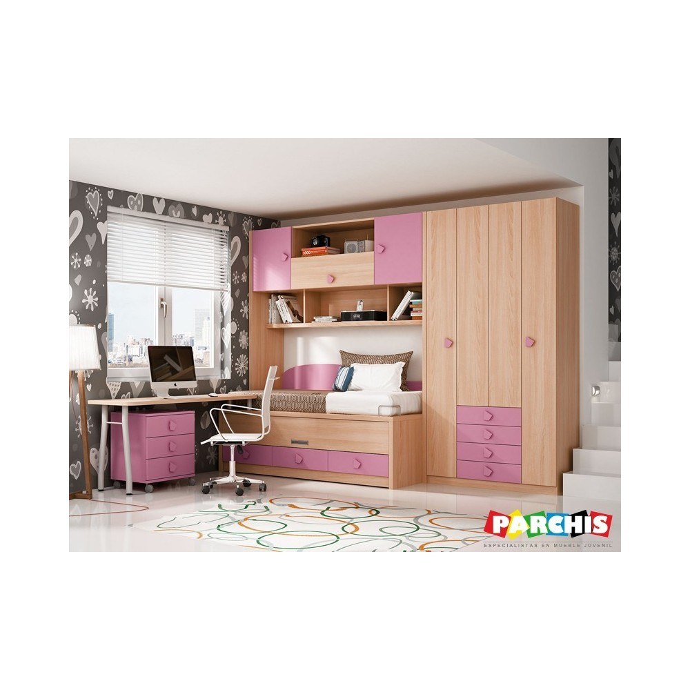 Camas compactas dobles para chicas jovenes - Muebles compactos juveniles ...