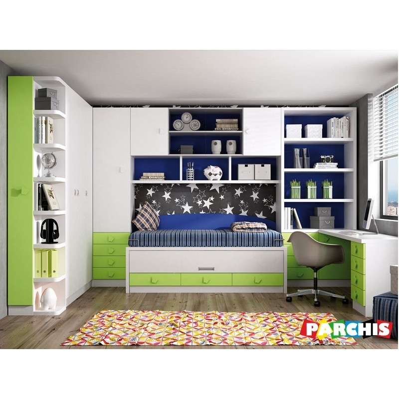 Muebles juveniles en color verde camas compactas para chicos for Muebles economicos madrid