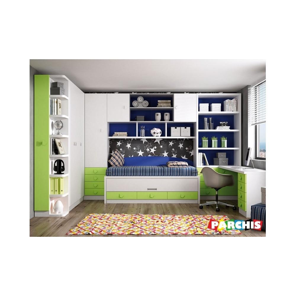 Muebles juveniles en color verde camas compactas para chicos - Muebles compactos juveniles ...