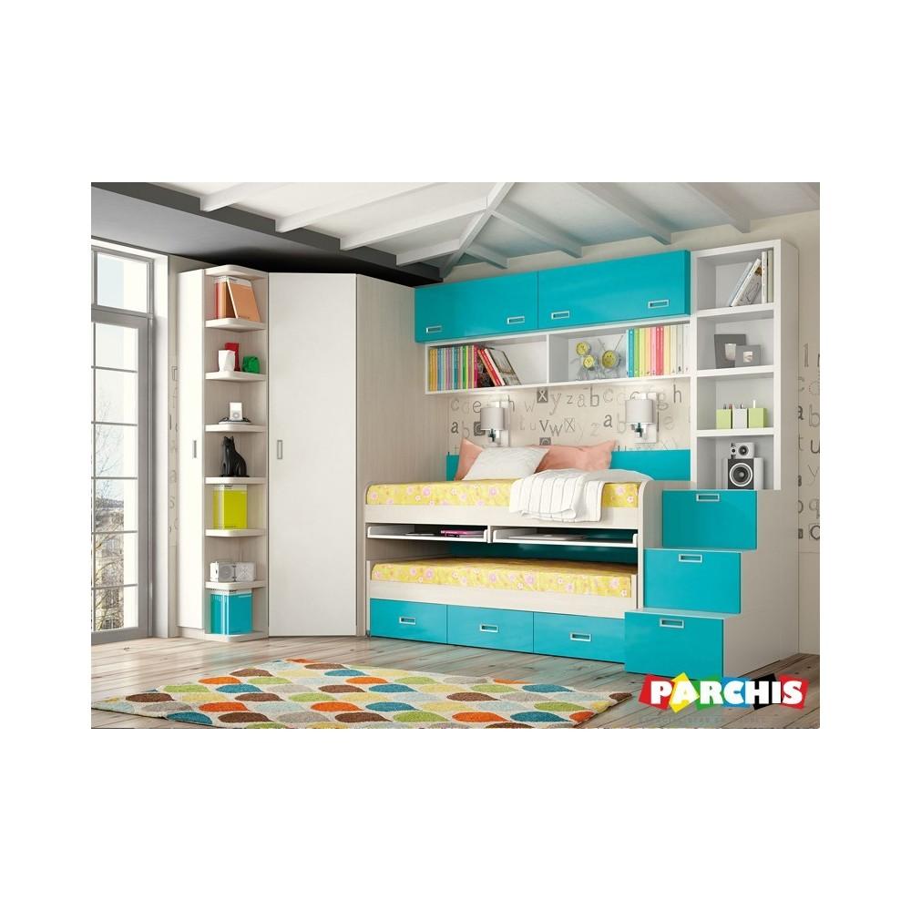Muebles juveniles para chicas y chicos en color azul for Muebles camas juveniles