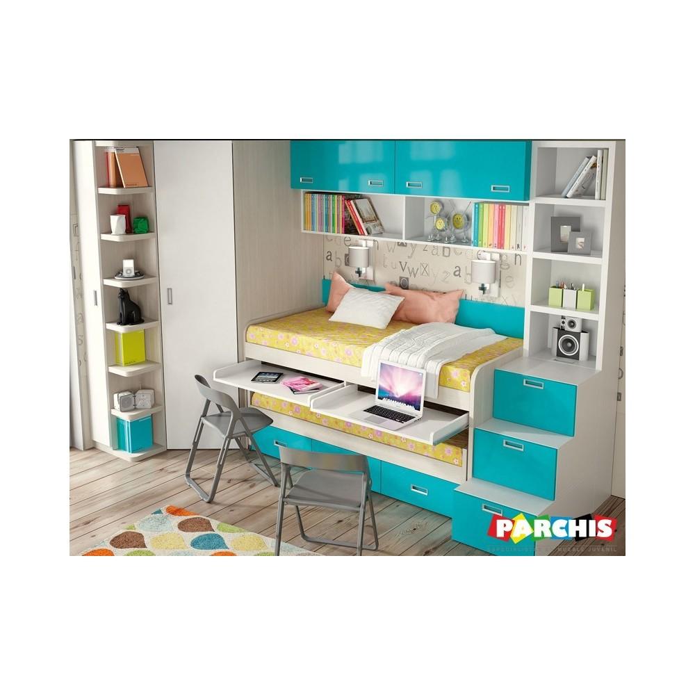Muebles juveniles para chicas y chicos en color azul for Camas compactas juveniles