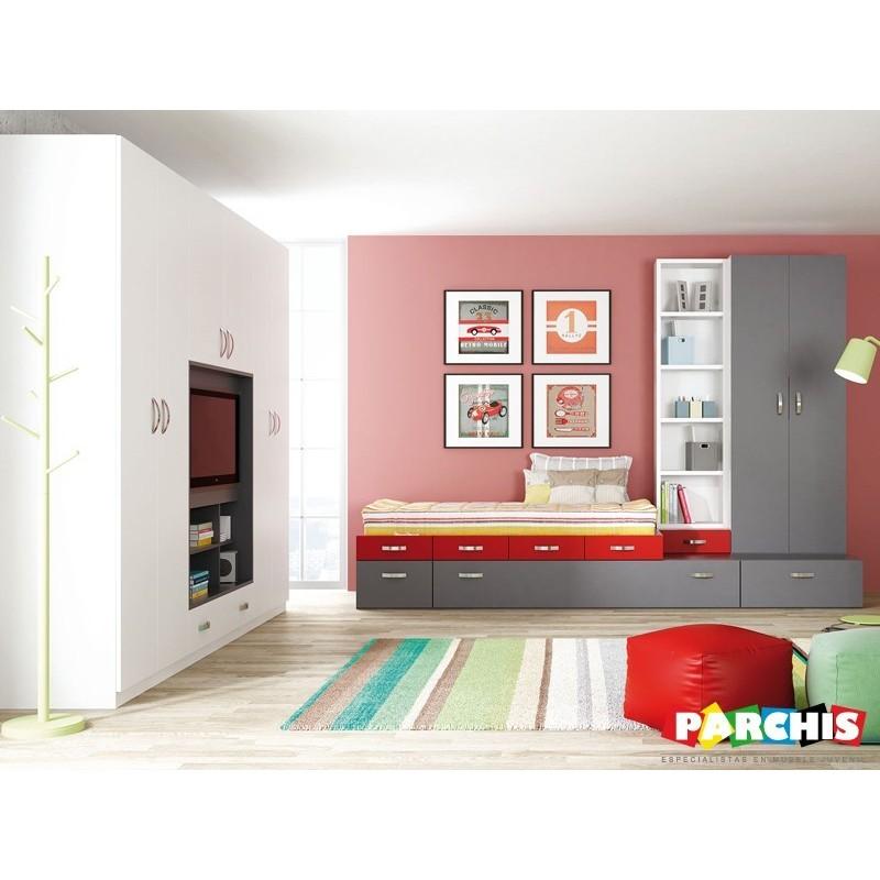 Ideas para habitaciones juveniles en rojo y gris for Habitaciones compactas