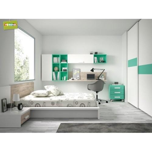Dormitorios con camas individuales habitaciones for Diseno de muebles para dormitorio de nina