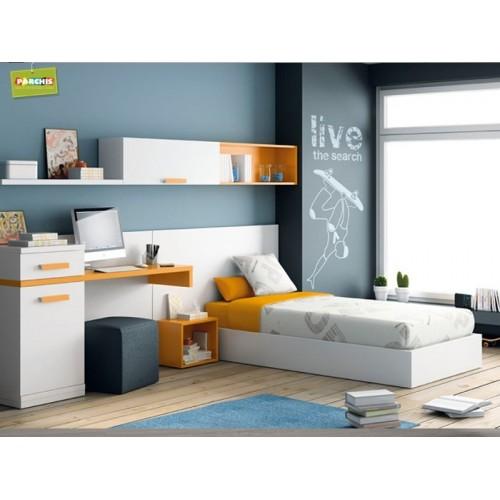Dormitorios con camas individuales habitaciones for Muebles modulares juveniles